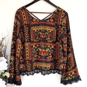 H&M Coachella black floral boho bell sleeve blouse